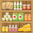 Supermarket. Shelfs with food — Stock Vector