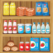 Stock Vector: Supermarket. Shelfs with food