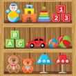 Shelfs with toys — Grafika wektorowa