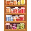 Store shelves with jam — Image vectorielle