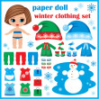 Paper doll with winter clothes set. — Stock Vector