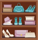バッグや靴の棚. — ストックベクタ