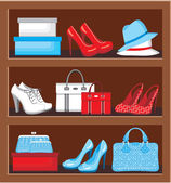 Shelf with bags and shoes. — Stock Vector