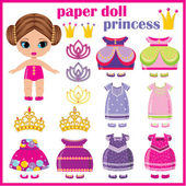 Paper doll princess with a set of clothes. — Stock Vector