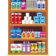 Stock Vector: Shelfs with household chemicals