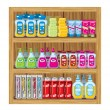 Stock Vector: Shelfs with household chemicals.
