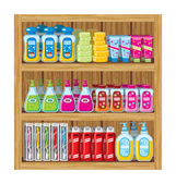 Shelfs with household chemicals. — Stock Vector