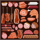 Set of meat products. — Stock Vector