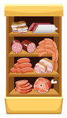 Shelfs with meat products. Meat market. — Stock Vector