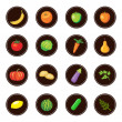 Fruits and vegetables. Set of icons. — Stock Vector