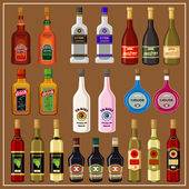 Set alcoholic beverages. vector — Stok Vektör