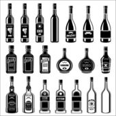 Set of alcohol bottles. — Stock Vector