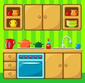 Kitchen interior. — Stock Vector