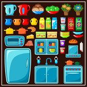 Conjunto de móveis de cozinha. itens de cozinha. — Vetor de Stock