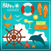 Summer beach set — Stock Vector