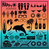 Set di icone di spiaggia — Vettoriale Stock