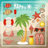 Summer beach set.  — Stock Vector