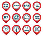 Set of beach map pointers.  — Stock Vector