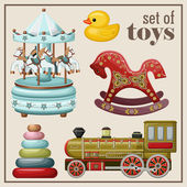 Set of vintage toys. — Stock Vector