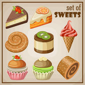 Set of sweets. — Stock Vector