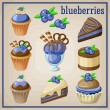 Set of sweets with blueberries. vector illustration — Stock Vector #51424877