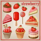 Set of sweets with strawberry. vector illustration — ストックベクタ