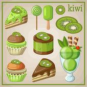Ensemble de bonbons avec kiwi. illustration vectorielle — Vecteur