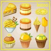 Satz von Süßigkeiten mit Zitrone. Vektor-illustration — Stockvektor
