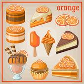 Set of sweets with an orange. vector illustration — ストックベクタ