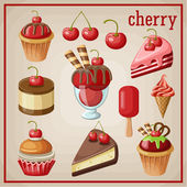 Set of sweets with cherry. vector illustration — Stock Vector