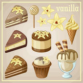 Set of sweets vanilla. vector illustration — Wektor stockowy