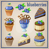 Set of sweets with blueberries. vector illustration — Stock Vector