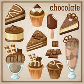 Set of sweets and chocolate. vector illustration — ストックベクタ