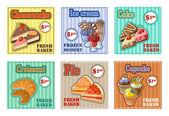 Set of baking menu card. vector illustration — Stock Vector