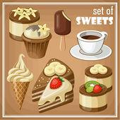 Conjunto de dulces. ilustración vectorial — Vector de stock