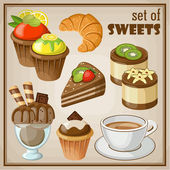 Set of sweets. vector illustration — Stock Vector