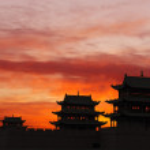 Sunrise of the Jiayuguan Pass Tower in GanSu,China — Stock Photo #13895107