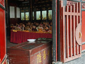 Buddhists are chanting sutras in Wenshu Monastery — Photo