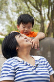 Kid playing with his aunt — Stock Photo