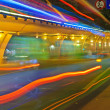 High speed traffic and blurred light trails under the overpass — Stock Photo #7548883
