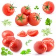 Collection of tomatoes and green leaves — Stockfoto #14074636