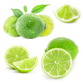 Collection Fresh lime and slice — Zdjęcie stockowe