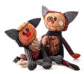 Ručně vyráběné rag doll roztomilé kočky — Stock fotografie
