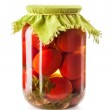 Canned Tomatoes in Glass Jar — Stock Photo #25677565