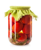 Canned Tomatoes in Glass Jar — Stock Photo