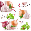 Collections of Garlic and onion with peppercorn and parsley — Stock Photo #25733193