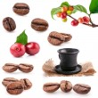 Stock Photo: Collections of roasted and red coffee beans