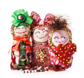 Three Handmade rag doll — Stock Photo