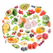 Stock Photo: Fruits and vegetables collections