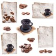 Collection of Coffee cup, old paper and coffee beans — Stock fotografie